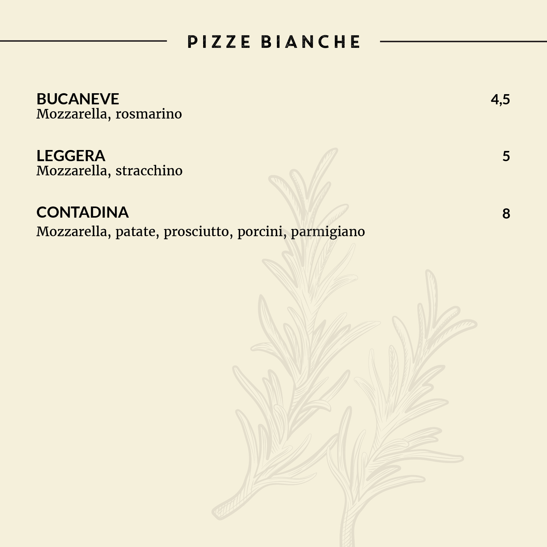 MENU SER PIZZA
